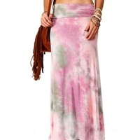 Pink/Olive/Ivory Tie Dye Maxi Skirt