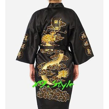 White Embroidery Dragon Chinese Men Sleepwear Robes Summer Casual Nightwear Japanese Kimono Gown Size S M L XL XXL XXXL S0013