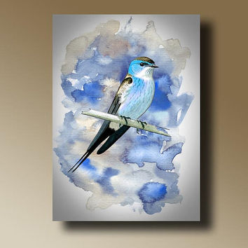 Print of Blue Bird Watercolor Painting Wall hanging Decorative Art Home Decor 14002
