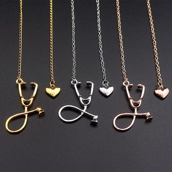 SC 3 Colors Rose Gold/Gold/Silver Stethoscope Lariat Heart Pendant Necklace Newest Nurse Medical Necklace Collares Bijoux Femme
