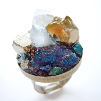 Raw Crystal Ring - Mineral Jewelry - Metallic Rainbow Cluster Ring - One of a Kind