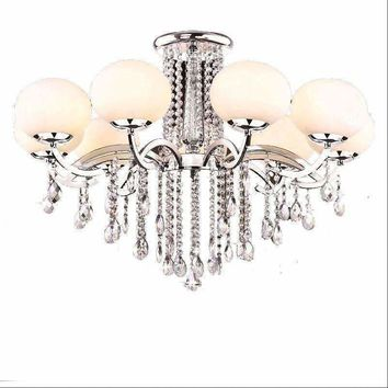 luxury iron led crystal  chandelier E27 led light heads glass lampshade iron ceiling lamp
