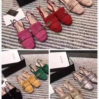 GUCCI Women Trending Fashion Embroidery printing Casual Shoes Flat Sandal Slipper Heels