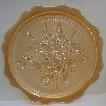 RARE VINTAGE PLATE/ CAKE/ SERVING/ OPALESCENT FINISH, FLOWERS