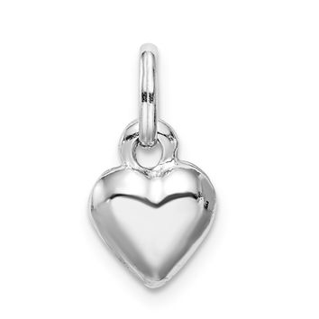 925 Sterling Silver Rhodium Plated Puffed Heart Charm and Pendant