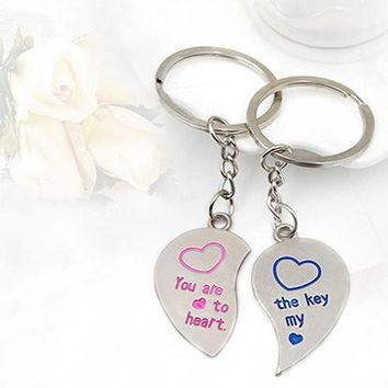 Keychain 1 Pair Lover Couple Love Heart