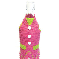 Crochet Gilet for wine bottle, Cover bottle, Bottle decorations, Decorazione Gilet bottiglia (Cod. 13)