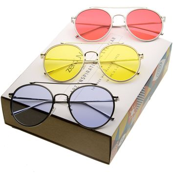 Mid Century Round Metal Color Lens Aviator Sunglasses A871 [Promo Box]
