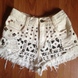 White tribal aztec print high waisted shorts