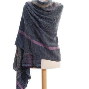 Blue Sherpa stole plaid in pure wool
