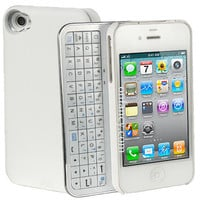 White Bluetooth Keyboard+Hardshell Case for iPhone 5