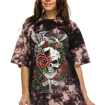 Round Neck Short Sleeve Screen Print Front & Back Lace-Up  24396