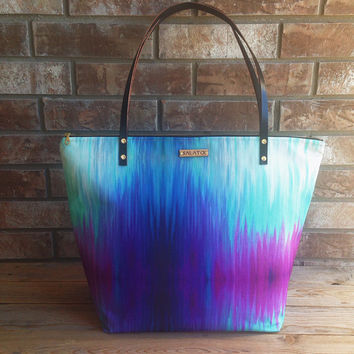 Large Tie Dye Zipper Tote, Speciality Fabric, fall tote, overnight bag, Weekender, Large Shoulder bag, Zipper tote