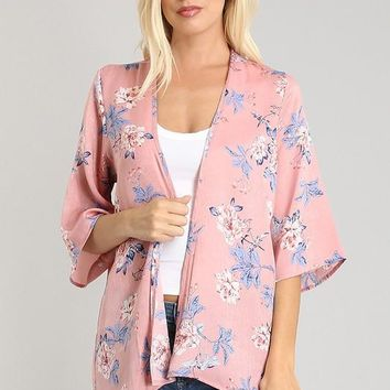 Dusty Pink Floral Cardigan