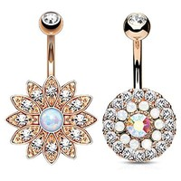 BodyJ4You Belly Button Ring Tiered Crystal Created Opal Rose Gold 14G Piercing Bar 2 Pieces