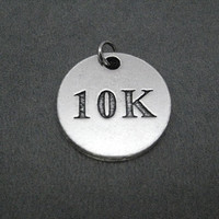 10K Round Pewter Pendant Charm - The Run Home's 10K Charm available only at The Run Home - ONE (1) 10k Charm - 10000 Meters - Road Race