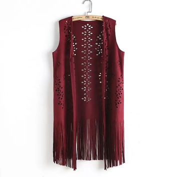 Cutout Fringed Sleeveless None Button Suede Top