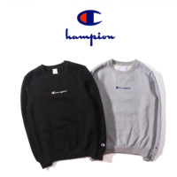 Champion embroidered small cotton letters small street casual round neck hedging plus velvet sweater lovers Black