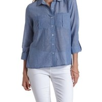 Lt Blue Denim Long Sleeve Cotton Button-Up Top by Charlotte Russe
