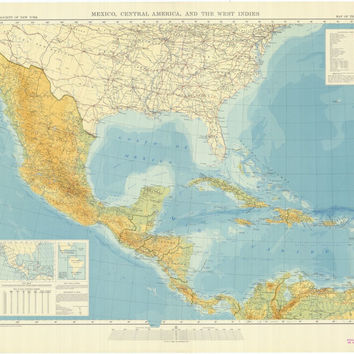 Map Of The Americas Mexico Central America And The West Indies