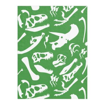 Dinosaur Bones (Green) Fleece Blanket