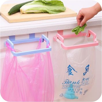 Trash Bag Holder Wipers Rack Kitchen Cupboard Hanger Shelf Over Door Rack Bar
