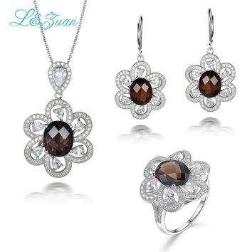 L&zuan Luxury 925 Siver Jewelry Natural 4.89ct Smody Quartz Pendant & 6.86ct Smody Quartz Earrings & 5.97ct Smody Quartz Ring