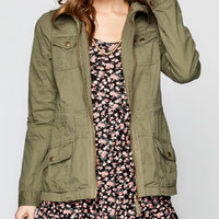 Full Tilt Fleece Hood Womens Twill Anorak Jacket Olive  In Sizes