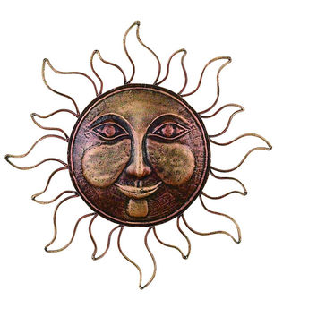 Classic Metal Sun Face Brass Wall Decor Art Sculpture