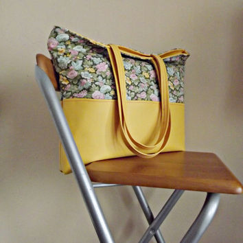 Canvas Tote Bag, Floral Bag, Colorful Bag, Yellow Leather Tote, Gift For Women, Christmas Gift, Woman Fashion Bag