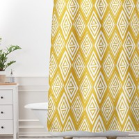 Heather Dutton Diamond In The Rough Gold Shower Curtain And Mat