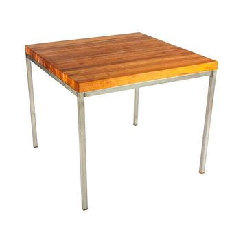 Pre-owned Cherry Butcher Block Table Stainless Steel Base
