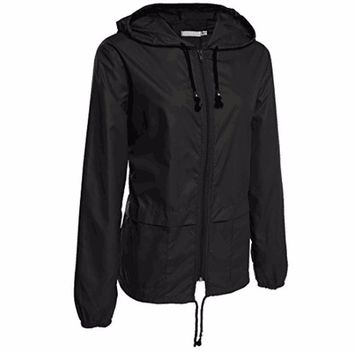Women's Lightweight Hooded Rain Jacket (3 colors available in sizes to XXL)