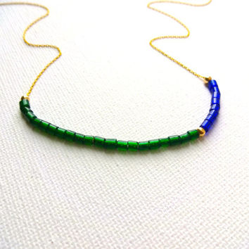 14k Gold Fill and Vintage African Trade Bead Venetian Glass & 14k Gold Fill Chain - Cobalt Blue and Green Color Block Necklace