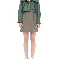Cropped Hooded Parka Jacket & Silky Dress with Gunflaps
