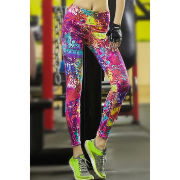 Active Style Elastic Waist Skinny Graffiti Yoga Pants For Women