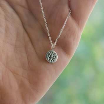 Sterling Silver Lotus Flower Disc Necklace - Yoga Jewelry . Gift Ideas for Her . Outdoor & Sportsman . Customizable Necklace