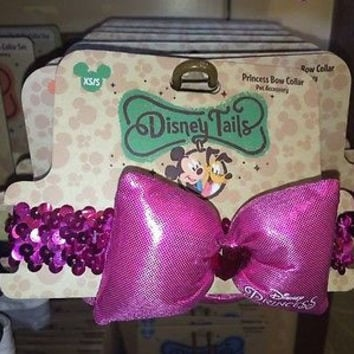 disney parks tails pet elastic fashion minnie princess bow collar new size xs/s