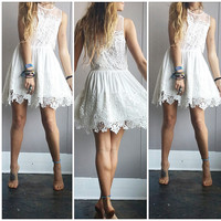 An Adorable White Crochet & Cotton Dress