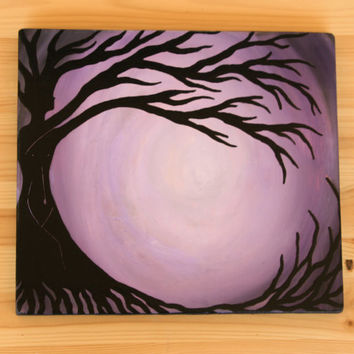Mother Earth Painting, Hand Painted tree, home and living, Home Decor, Rustic Wall Art, Tree Silhouette, Wood Painting, Mother earth decor