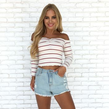 On The Sidelines Burgundy Stripe Top