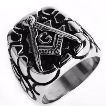 Punk Carved Plated Masonic Ring [Silver]