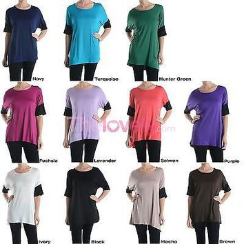 Women Scoop Neck Short Sleeve Asymmetrical Hi-Low Hem Long Tunic Top Shirt Dress