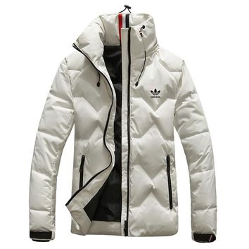 Adidas High Quality Winter Fashionable Women Men Warm Hooded Zipper Cardigan Down Jacket Coat Windbreaker White