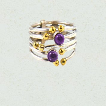 All in One Sterling Silver Stack Ring - Amethyst