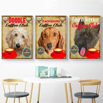 Hanging Wall Art Retro Dog Coffee Doodle Dachshund Wall Pictures Canvas Painting Home Decor Kids Room Decor Cuadros Decoracion