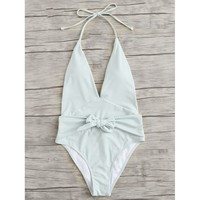 Women's Pale Mint Green Tie Belt Deep V-Neck Front Backless One Piece Monokini Swimsuit