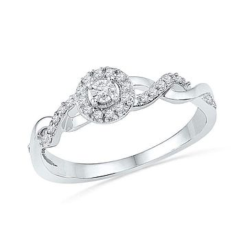 10kt White Gold Women's Round Diamond Solitaire Twist Woven Promise Bridal Ring 1/6 Cttw - FREE Shipping (US/CAN)