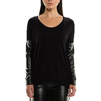 Sen Collection Sydney Sweater With Vegan Leather Sleeves | ShopAmbience