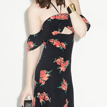 Black Halter Backess Floral Maxi Dress with Slits